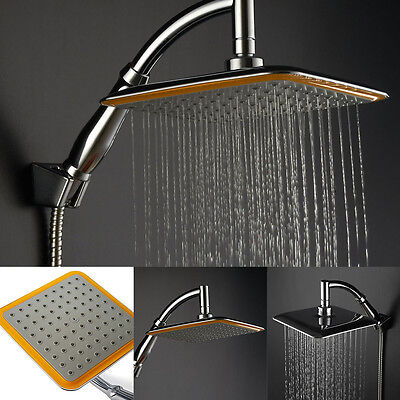 "9""Square Chrome Extension Stainless Steel Water Rainfall Overhead Shower Head"
