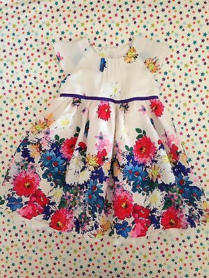 Baby Girl M&S 3-6 Month Occasion Dress Wedding Party Summer Floral Ditsy Bright