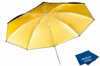 "Phot-R 33"" Black & Gold Studio Reflector Collapsible Umbrella Microfibre Cloth"