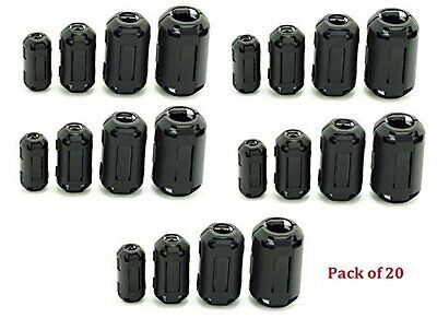 20 Ring Core Ferrite Bead Clamp Choke Coil RFI EMI Noise Filter Clip Snap Cable