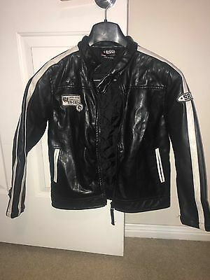 Boys leather look biker jacket. Size 8. Excellent used condition.