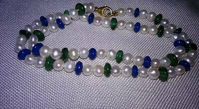 Freshwater pearl necklace with polished semi precious stone 9k gold clasp