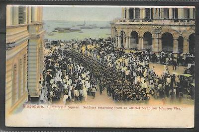Singapore Printed Postcard Of Soldiers In Commercial Square.