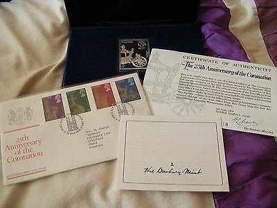 1978 25th Anniversary Of The Coronation FDC & Solid Silver Ingot Mint UNC