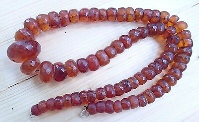 Vintage Natural Baltic Amber Faceted Bead Necklace 145,5 Grams.