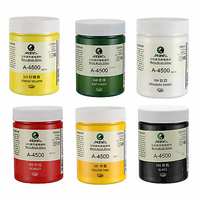500ml Acrylic Paint Draw Painting Watercolor Artist Acrylic Pigment 6 Colors