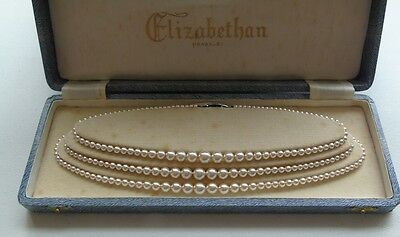 Vintage Elizabethan 3 Strand Simulated Pearls With Art Deco Style Clasp Boxed