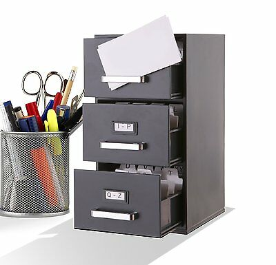 Index Business Card Files Mini File Cabinet Business Card Holder 3-Drawer NEW