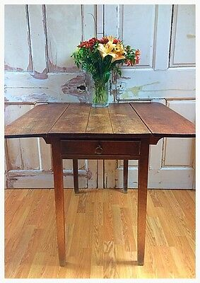 Antique Wooden Solid Oak Drop Leaf Table With Draw.