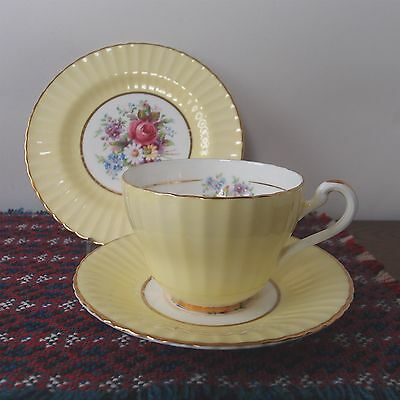 Vintage Fluted Trio - Imperial - Tea Cup, Saucer & Side Plate -Yellow & Flowers
