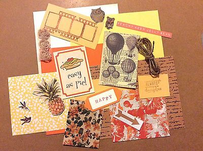Craft Pack Kit Scrapbook Card Making Paper Embellishments Orange Yellow Flowers