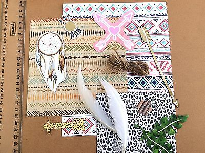 Craft Pack Kit DIY Scrapbooking Card Making Paper Embellishments Tribal Feathers