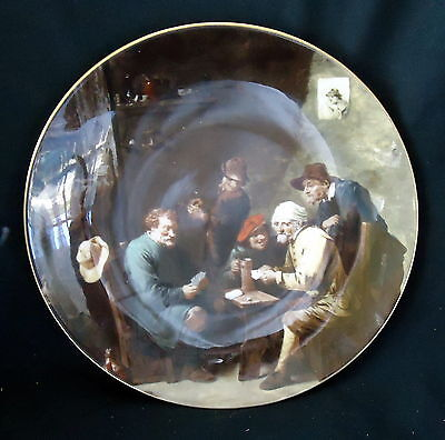 """Crown Staffordshire Display Plate """" David Teniers A Game Of Cards """". Size 20 cm."""