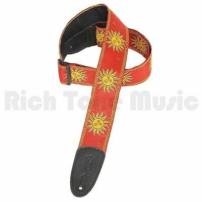 Levys 2 Inch Sun Design Jacquard Weave Guitar Strap - Red