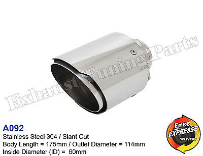 """Exhaust Tip Tailpipe trim S/Steel 114mm 4.5"""" for VW BMW MERCEDES MG NISSAN"""