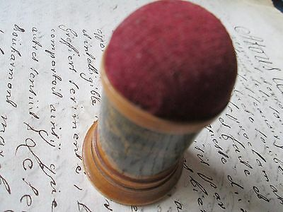 Antique-vintage Wooden Pin cushion & timble/ souvenier de Bouillion/Belguim