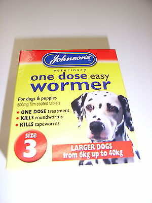 Johnsons One Dose Easy Wormer Tablets Larger Dogs Size 3 Tape & Round Worms