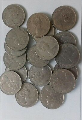 Lot of old large 10p coins.