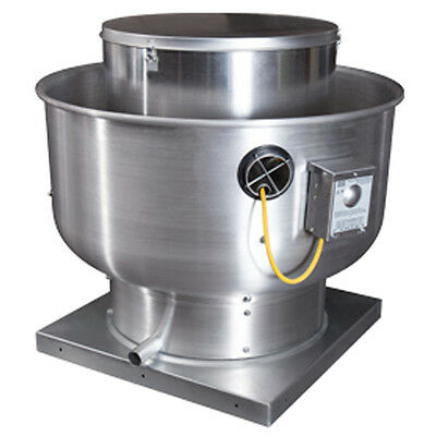 "Restaurant Hood Upblast Exhaust Fan 200 cfm 10.5"" Wheel 19"" Base"
