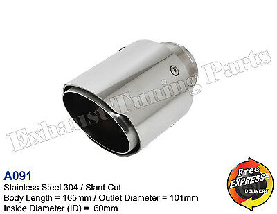 """Exhaust Tip Tailpipe trim S/Steel 101mm 4"""" for VW AUDI BMW MERCEDES MG OPEL"""