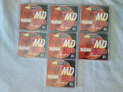 7 HISPACE 80 MINIDISCS BRAND NEW & SEALED 80 minutes recording time