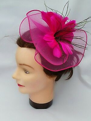 Ladies Magenta Dark Pink Crystal Flower Feather  Headband Fascinator Wedding