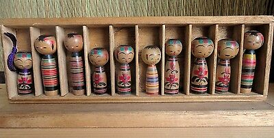 1 - 2 inch Japanese kokeshi doll 10 pics with Kiri box : antique : made in Japan