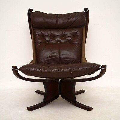 RETRO LEATHER FALCON CHAIR BY SIGURD RESSEL VINTAGE 1960's