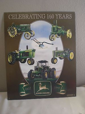 "John Deere Tractor ""Celebrating 160 Years"" Vintage Metal Sign 13""X16"" 1837-1997"