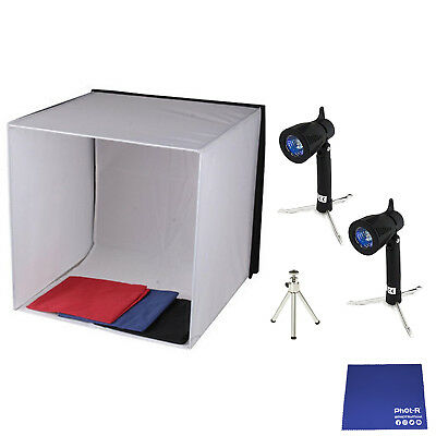 Phot-R 60cm Photo Studio Light Tent Cube Lighting Tripod Stand Chamois Cloth