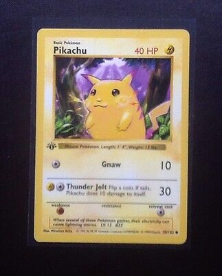 Original 1999 First/ 1st Edition Pikachu Pokemon Card Shadowless Base Set NM