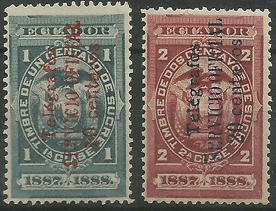 M239: Ecuador 1895 Oficial Telegraph Stamps. Mng. Barefoot 1-2