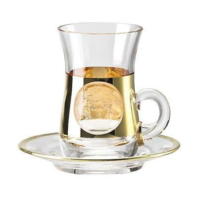 "Versace   By Rosenthal,germany  ""medusa Madness Oro"" Tea Glass, Bulbous & Saucer"