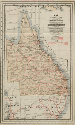 Queensland rail network. Railways Commissioner's Report. Livestock 1908 map