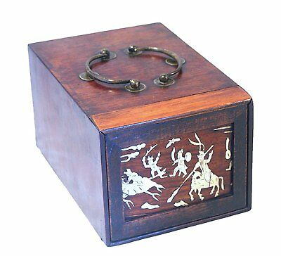 Antique 19Th C Chinese Rosewood Inlaid Travelling Shaving Vanity Box With Mirror