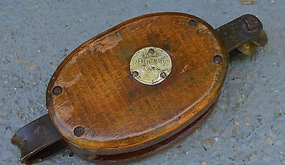 ANTIQUE WOOD W.H. McMILLAN'S SONS New York PULLEY MARITIME INDUSTRIAL