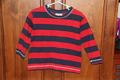 Toddler Boy Hanna Andersson Red and Blue Striped Long Sleeve Shirt size 90 (3t)