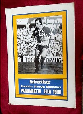 Rugby League Parramatta Eels 1988 Bob Lindner Advertising Poster Signed Photo