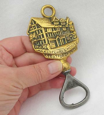 Vintage Brass BOTTLE OPENER Depicting SHAKESPEARES HOUSE Stratford on Avon