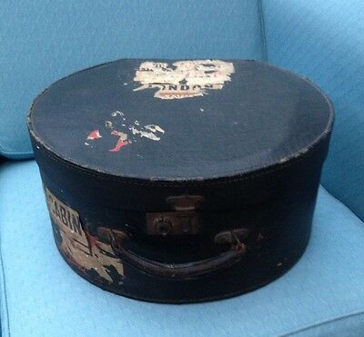 Vintage Hat Box with Handle and Travel Labels