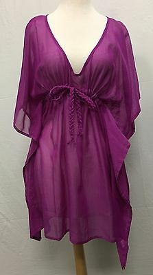 8a3908c8a6f65 Echo Design Women's Solid Purple Classic Butterfly Swimsuit Sun Cover Up  NEW!