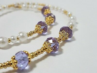 Classic Pearl Gold w/Lavendar Beaded Eyeglass Reading Glasses Chain Necklace