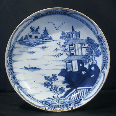Antique Chinese Kangxi Handpainted Porcelain Blue & White Dish