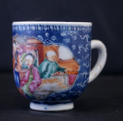 Stunning Antique Chinese Porcelain Qianglong Reign Coffee Cup Handpainted Enamel