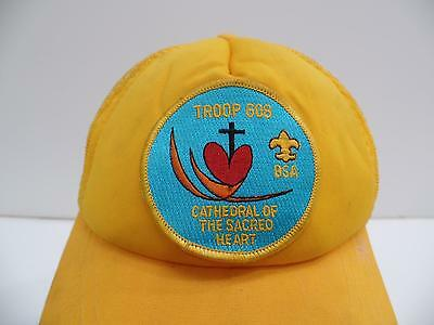 BSA Troop 608 Cathedral Sacred Heart Patch Yellow Baseball Cap Boys Hat 1Sz Vtg