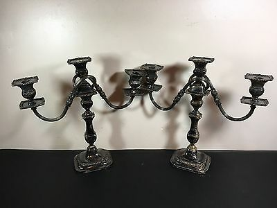 PAIR of LARGE VINTAGE THREE LIGHT CANDELABRAS SILVER PLATE # 603/3