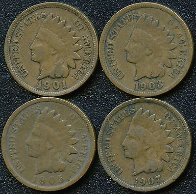 "1901 1903 1905 & 1907 United States ""Indian Head"" 1 Cent Coins"