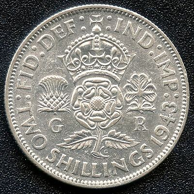 1943 Great Britain 2 Shilling Coin ( 11.31 Grams .500 Silver )