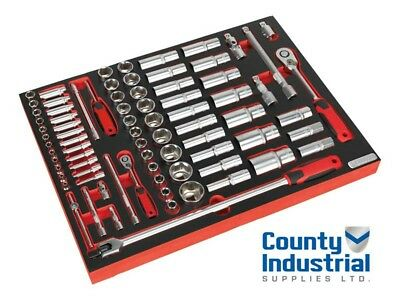 """Sealey TBTP01 Tool Tray with Socket Set 1/4"""" & 1/2""""Sq Drive 79pc"""