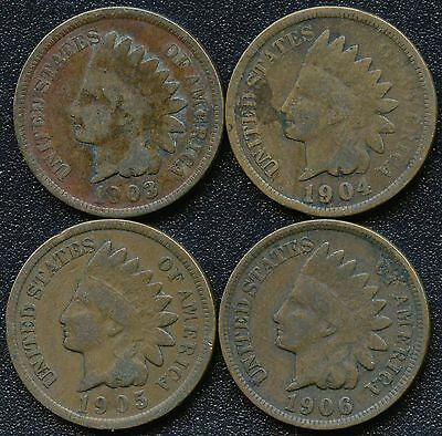 "1903 1904 1905 & 1906 United States ""Indian Head"" 1 Cent Coins"
